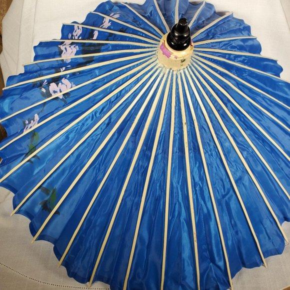 vintage Chinese silky  umbrella parasol